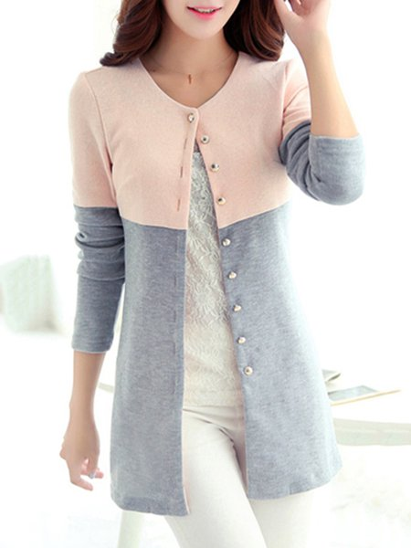 Crew Neck Paneled Casual Knitted Long Sleeve Cardigan