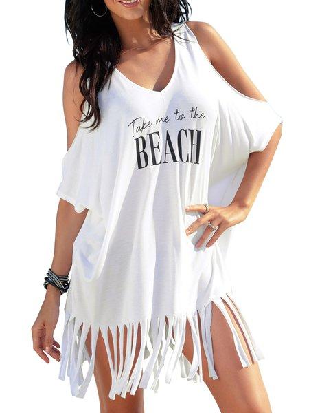 White Cotton Off Shoulder Letter Short Sleeve T-Shirt