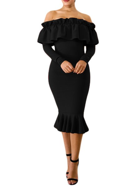Women Elegant Dress Off Shoulder Bodycon Cocktail Elegant Ruffled Dress