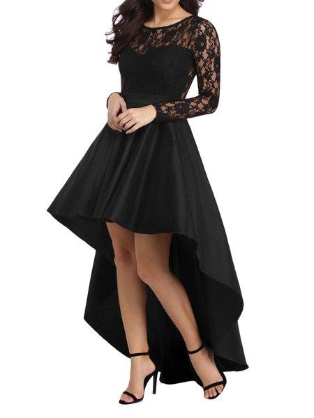 Black Asymmetrical Polyester Evening Ruffled Dress