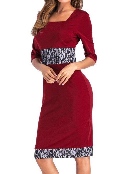 Burgundy Paneled Casual Bodycon Cotton-blend Dress