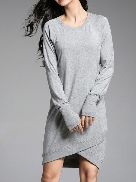 Long Sleeve H-line Casual Modal Crew Neck Hand Cuff Dress