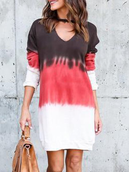Coffee Women Casual Dress V neck Shift Going out Cotton Ombre/Tie-Dye Dress