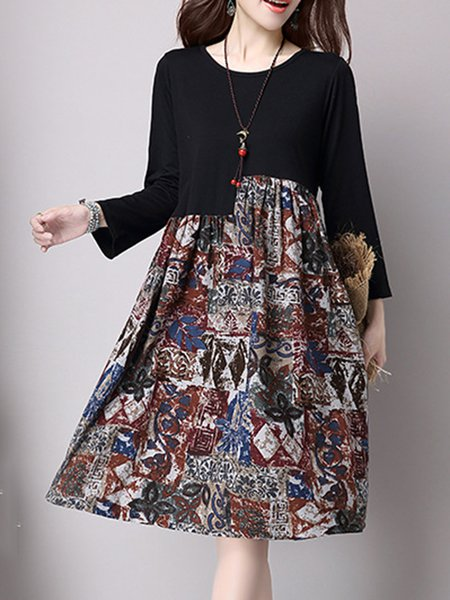 Paneled Long Sleeve Elegant Crew Neck Swing Dress