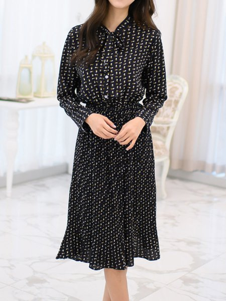 Deep Blue Pleated Chiffon Shawl Collar Long Sleeve Dress