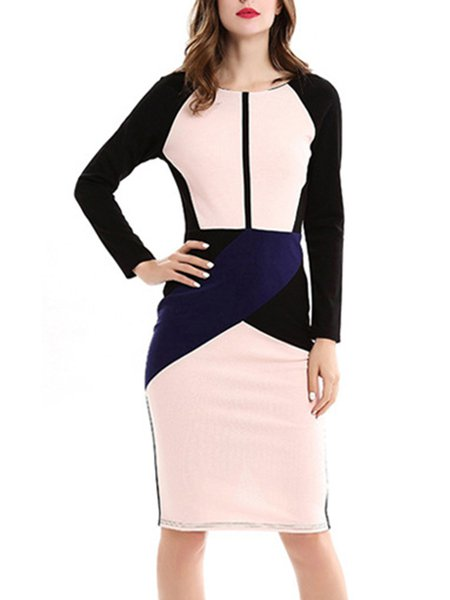 Pink Long Sleeve Color-block Bodycon Solid Dress