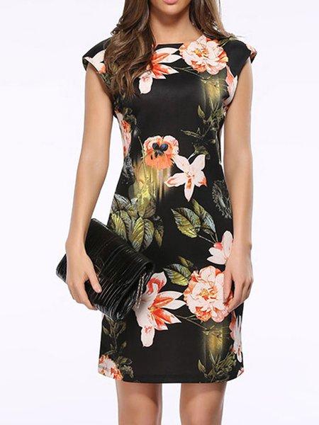 Black Women Print Dress Crew Neck Bodycon Sleeveless Casual Dress