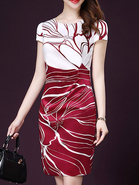 Abstract Sheath Short Sleeve Dress