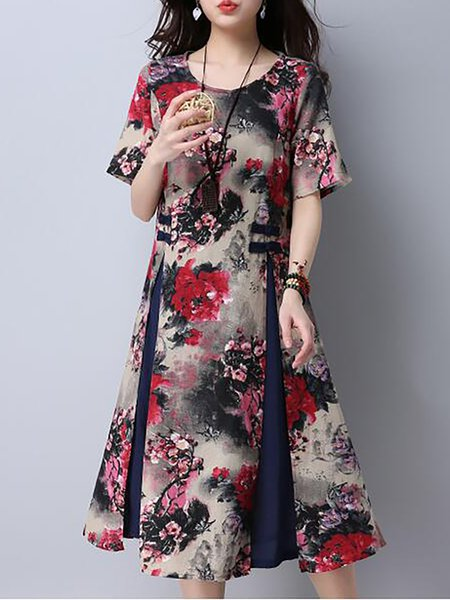 Red Women Elegant Dress Crew Neck A-line Daily Paneled Floral Dress
