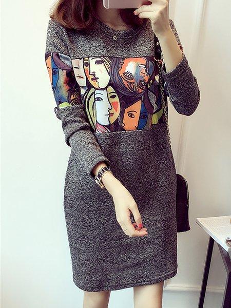 Elegant Abstract Cotton Long Sleeve Printed Dress