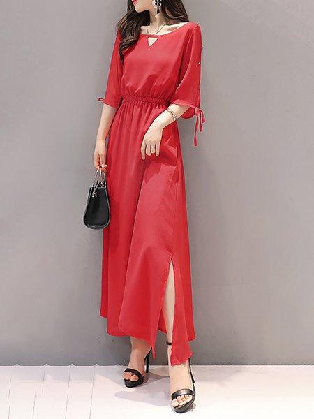 H-line Chiffon Elegant Half Sleeve Dress