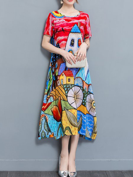 Red Women Elegant Dress Crew Neck Daytime Half Sleeve Abstract Dress