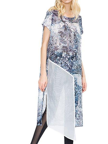 White Asymmetrical Crew Neck Elegant Polyester Dress