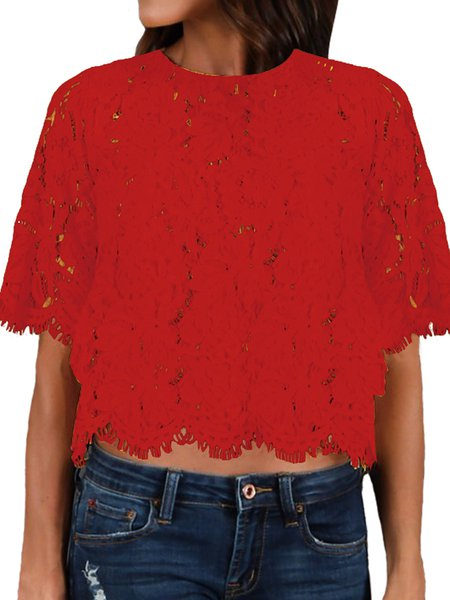 Lace Up Floral Short Sleeve Shirts