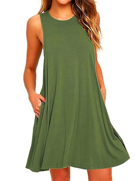Women Casual Dress Crew Neck A-line Daytime Casual Solid Dress