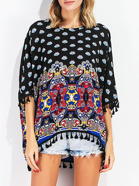 Cotton Crew Neck Abstract Batwing Casual T-Shirt