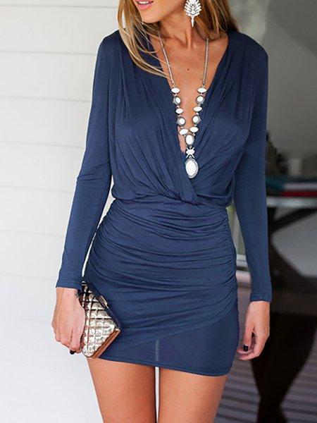 V Neck Bodycon Long Sleeve Dress