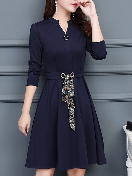 Half Sleeve V Neck A-line Printed Dress