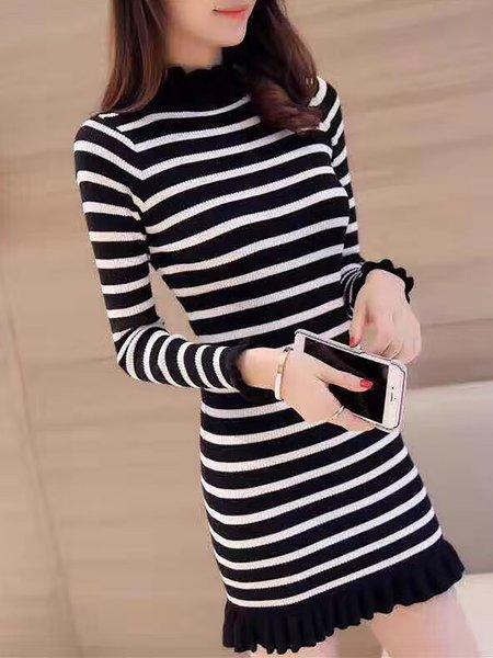 Stripes Sheath Short Sleeve Dress