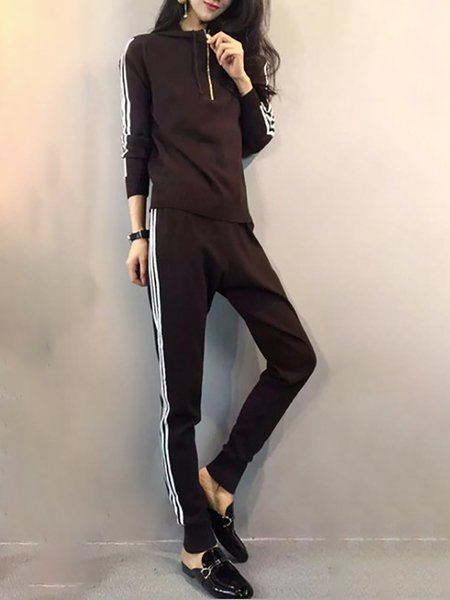 Paneled Stand Collar Long Sleeve Women's Co-ord