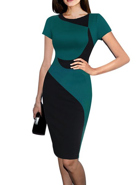 Green Women Casual Dress Crew Neck Bodycon Daytime Short Sleeve Casual Dress
