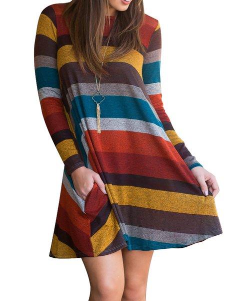 Women Elegant Dress Crew Neck Swing Daytime Long Sleeve Striped Dress
