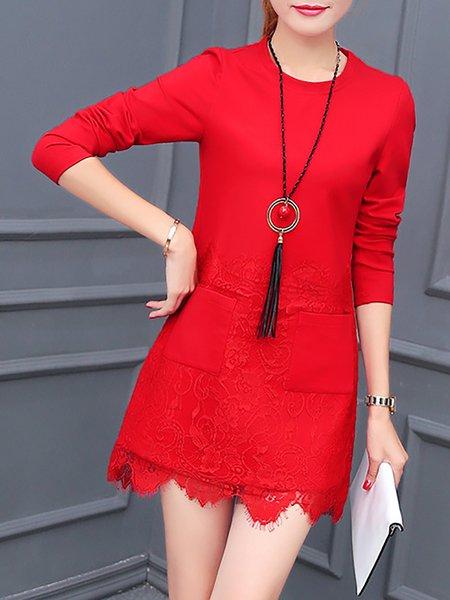 Pockets Polyester Long Sleeve Sheath Dress