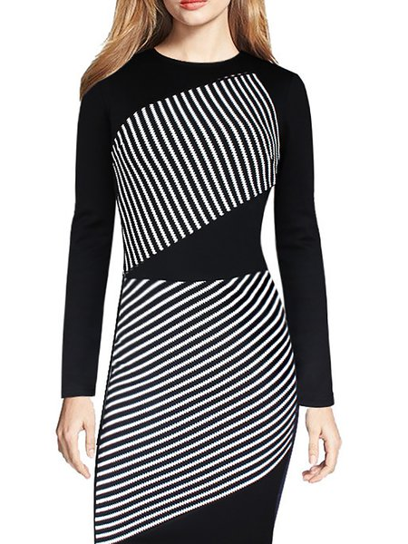 Black Women Casual Dress Crew Neck Bodycon Going out Cotton Slit Dress