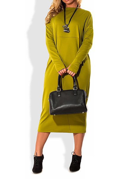 Women Casual Dress Crew Neck Shift Daytime Long Sleeve Casual Dress