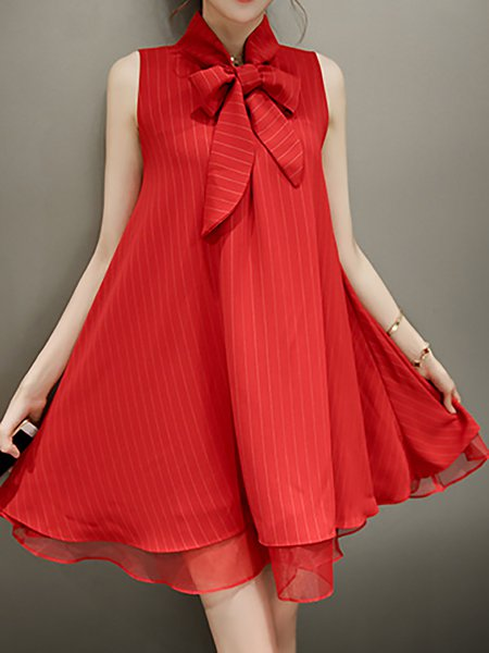 Stand Collar Red Women Casual Dress Going out Elegant Bow Dress