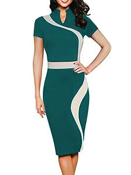 Women Print Dress Crew Neck Bodycon Daytime Short Sleeve Paneled Dress