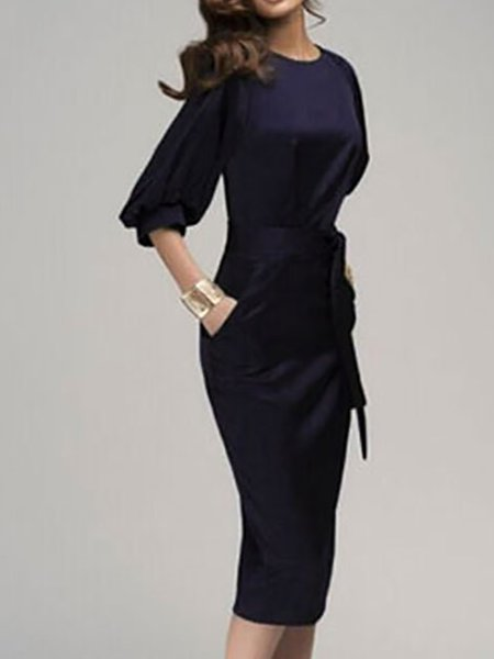 Deep blue Women Elegant Dress Crew Neck Sheath Balloon Sleeve Paneled Dress