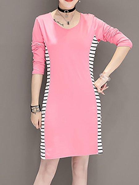 Stripes Long Sleeve Paneled Dress