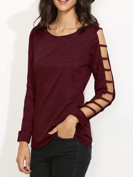 Long Sleeve Cutout Crew Neck Polyester Elegant T-Shirt