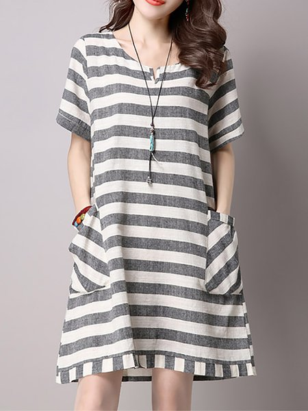 Women Casual Dress Crew Neck A-line Short Sleeve Striped Dress