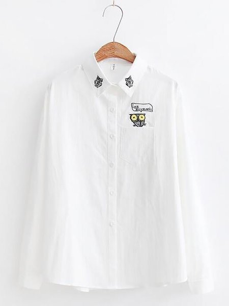 White Cotton Shirt Collar Long Sleeve Embroidered Shirts