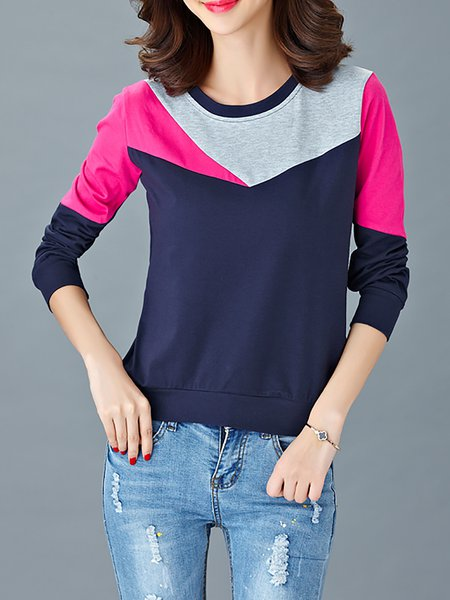 Paneled Crew Neck Polyester Casual T-Shirt