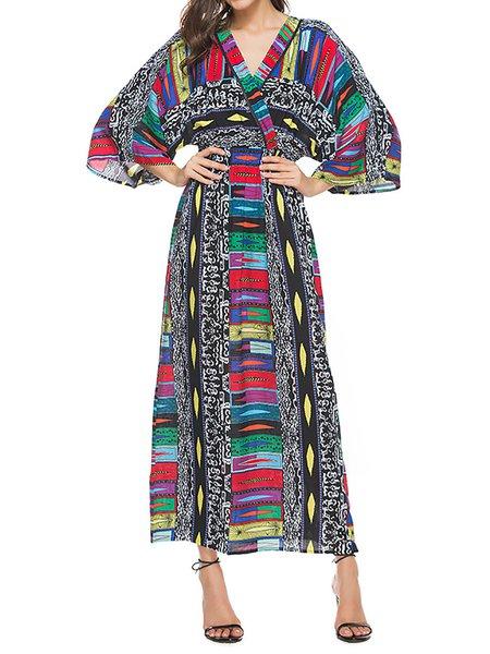 3/4 Sleeve A-line Printed Elegant Cotton Dress