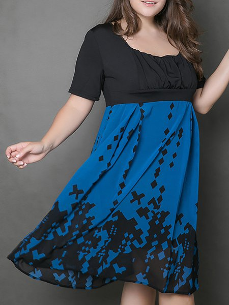 Crew Neck Short Sleeves Chiffon Painted Floral Dress
