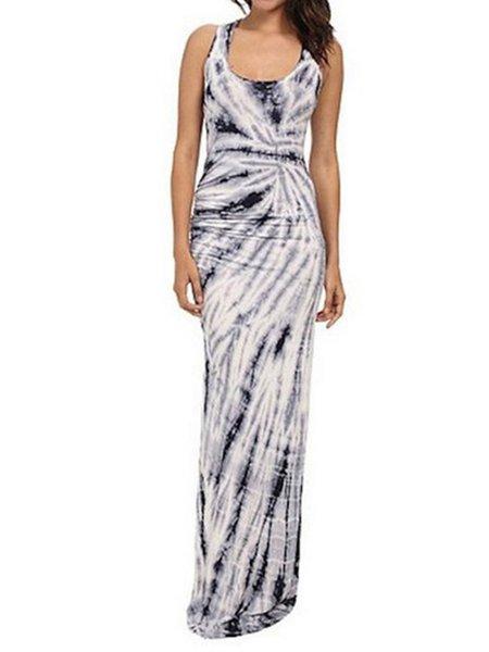 Sheath Elegant Crew Neck Painted Sleeveless Dress