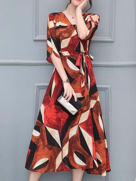 Women Elegant Dress V neck Swing Daytime Half Sleeve Painted Dress