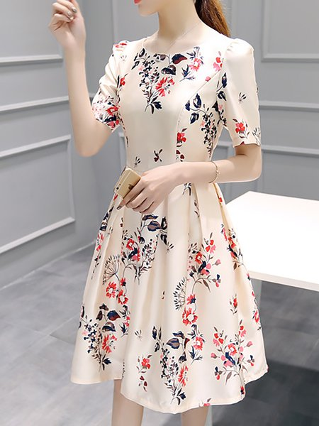 Pink Women Elegant Dress Crew Neck A-line Half Sleeve Printed Dress