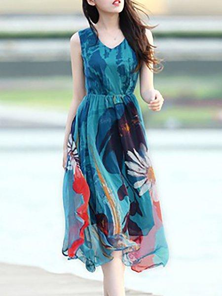 Blue Painted V Neck Floral Sleeveless Dress