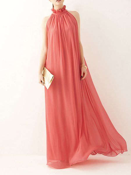 Women Prom Dress Halter Swing Party Chiffon Paneled Dress