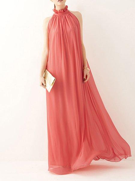 Ruffled Elegant Halter Chiffon Dress