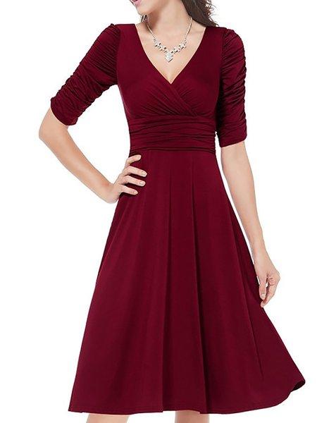 Women Elegant Dress V neck Swing Daily Half Sleeve Paneled Dress