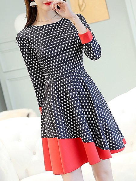 3/4 Sleeve Polyester Crew Neck Elegant Dress