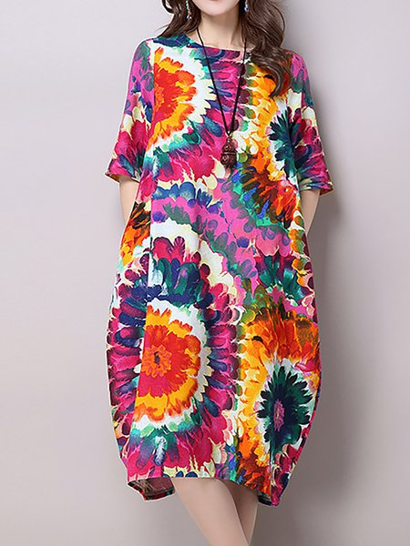 Women Print Dress Crew Neck Cocoon Half Sleeve Floral Dress