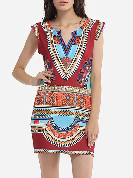 Painted Geometric Sleeveless Elegant Dress