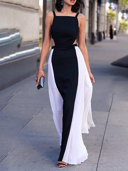 Black-white Women Prom Dress Sweetheart Party Spaghetti Chiffon Dress